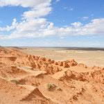 Falaises Bayanzag. Il s'agit d'un site Paléontologique important. C'est ici qu'ont été découverts de nombreux os et squelettes de dinosaures au XX° siècle.