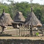 Au milieu du terre plein central s'alignent diverses structures (1 pour chaque clan). Ici les Ngadhu, qui représente l'ancêtre mâle du clan