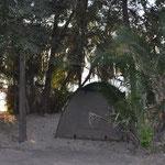Notre campement au Guma Lagoon Camp. Au bord du delta de l'Okavango