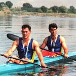 Juan Jose Roman y Juan Manuel Sanchez con la medalla de Campeones del Mundo Paris 1991
