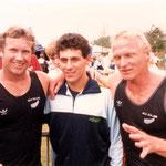 Juanjo con los Campeones Olimpicos y del mundo Macdonal y Ferguson  NZL en 1985 Mechelen