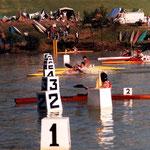 campeonato de España en Trasona 1986 K1 500 calle 2 Juan Manuel Sanchez,  Calle 4  Juan Jose Roman, Calle 5 Javier Alvarez