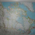 Meine Kanadakarte mit Fähnchen in Halifax
