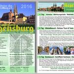 """Kulturkreis Vellberg, Städtereise nach Regensburg - """"Glanz und Gloria"""", Flyerentwurf Joachim Trick"""