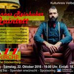 Kulturkreis Vellberg , Jazz in der Kirche, Johannes Reinhuber Quintett, Foto Sven Götz, Plakatentwurf Joachim Trick