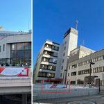 松戸駅前 東京2020オリンピック横断幕(聖火リレースタート100日前記念、松戸市での聖火リレー実施200日前記念)※左:東口前 右:西口前