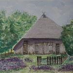 Schafhütte in der Heide Aquarell