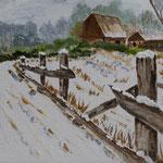 Winterlandschaft II  Acryl auf Boesner-Malkarton  15 x 25cm