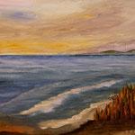 am Strand (Fantasie) Acryl auf Boesner-Malkarton 30 x 40cm