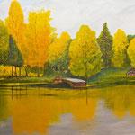 Herbst am See  Acryl 30 x 60 cm