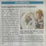 Carola Eggeling präsentiert ihre Skulpturen - Westdeutsche Zeitung - 16.5.2009