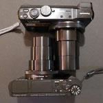 Vergleich TZ61 (oben) mit HX90 - Größe ausgefahrenes Objektiv