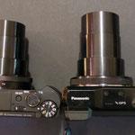 Vergleich TZ61 (rechts) mit HX90 - Größe ausgefahrenes Objektiv  -->  interessant: trotz der unterschiedlichen Objektivlänge haben beide einen 30fachen Zoom!