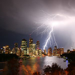Lightning strike over Brisbane Queensland.
