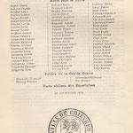 Plaque commémorative - Guerre 14-18 - Noms tirés de l'ouvrage de Van Haudenard