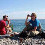 avec Mathieu, sur la plage de Nice
