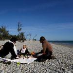 plage des aresquiers avec Fred, Sand et Arthur