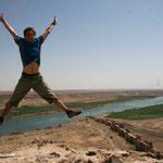 vue sur les ruines de Halabiah, et sur l'Euphrate...