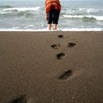 les pieds dans l'eau de la Caspienne