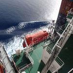 Beim Safety Drill setzen wir uns ins Rettungsboot