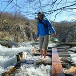 Plitvicer Seen: weil die Wege überschwemmt sind gehen wir barfuß weiter - saukalt!