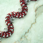 Silver with Red/Maroon
