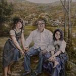 Retrato al óleo de un padre y sus hijas.