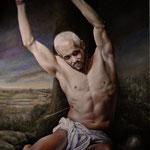 Retrato de un joven caracterizar como San Sebastián