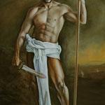 Retrato caracterizado como guerrero clásico.