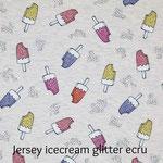 Jersey icecream glitter ecru