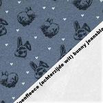 Alpenfleece (achterkant zacht en wit) bunny jeansblauw