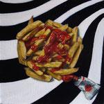 O compro ketchup o compro pintura (20x20cm) Óleo sobre Lienzo