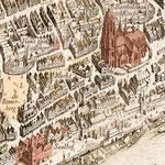 Merian 1770: Vogelschau von Frankfurt/Main - nach der Restaurierung