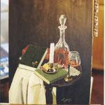 """Stillleben """"Bücher und Cognac"""" Acryltechnik"""