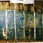 Historische Barock Deckenmalerei von ca. 1700 / 1750 aus dem Schloss Bergedorf bei Hamburg.