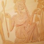 Detail der Wandmalerei nach einer Vorlage des goldenen Schreins aus dem Grab von Tutanchamun. Mit freundlicher Genehmigung der bpk Bildagentur Berlin.