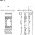 Restauratorische Dokumentation. Zeichnung für die Befundeintragung der restauratorischen Voruntersuchung, an der Kanzel der Sinstorfer KIrche, bei Hamburg