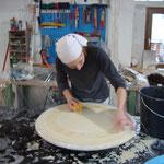 Neuherstellung einer Scagliola-Tischplatte Atelier Mahr