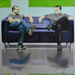 Sofa 4hoch2 #4, Öl auf Leinwand, 2014, 110 x 110