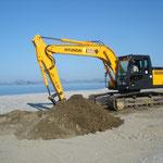 excavator work at the nesting beach