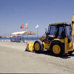 Heavy vehicles smooth the beach for a sporting event during the nesting season