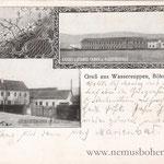 Seltene Postkarte mit den beiden Österreicher-Fabriken.