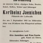 Sterbebild von Fähnr. Karlheinz Jaenichen (Quelle: Privatarchiv Michael F. Regnery).