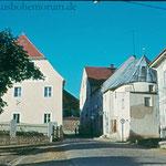 """Hammerstraße: Rechts ist deutlicher als heute die Rundung der Allerheiligenkapelle zu erkennen, die hier am """"Hammertor"""" etwa vom 16.  bis 18. Jhd. existierte."""