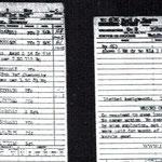 """""""Morning Report"""" D-Kompanie, 358. Infantry Reg., mit den Namen von sechs gefallenen GI's."""