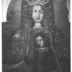 """Das Gnadenbild """"Mariä Heimsuchung"""" aus der alten Waldkapelle am Hirschstein, heute in einer Seitenkapelle in der Wassersuppener Kirche. Aufnahme 1969."""