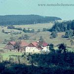 Im Vordergrund ein Anwesen von Steinlohe (Mausthurm, deutsches Gebiet), dahinter auf tschechischem Gebiet der Schickenhof (Anger/Úpor). Hier überquerte der Gefangenenzug wohl am 24. April 1945 die Grenze.
