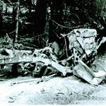 """Die Wrackteile des Jeeps bei Díly (Foto via M. Drbal). Gut zu erkennen die Zahl """"358"""" für das Regiment."""