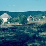 """Das Ende von Haselbach-Lísková: Zollamt und -stadel und wenige Häuser; ganz hinten das """"Fuchsenloch"""" (um 1955)."""