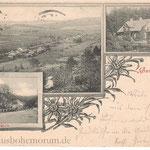 Postkarte von Haselbach (Lísková). Höll und Bayern liegen im Hintergrund. Die Villa der Glasmacher-Dynastie Ziegler brannte 1916 ab.